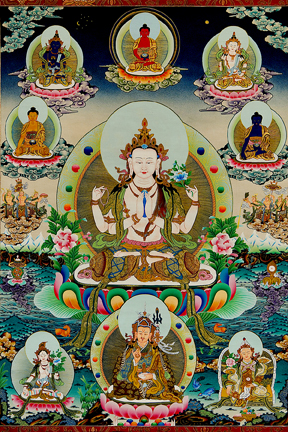Chenrezig with 5 Wisdom Buddhas (Downloadable Photo)
