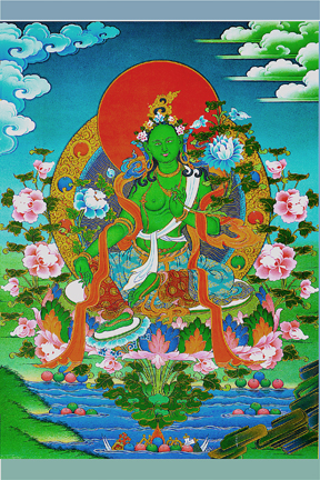 Green Tara on Lake (Downloadable photo)