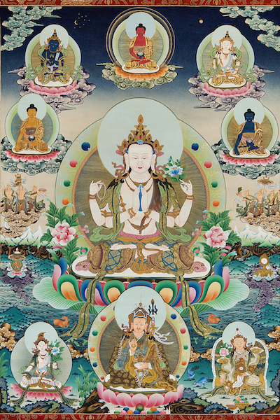 Chenrezig and Five Wisdom Buddhas (Photo)