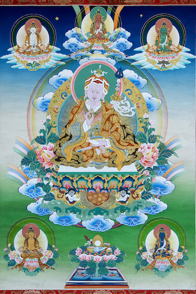 Guru Rinpoche and Five Wisdom Buddhas (Photo)